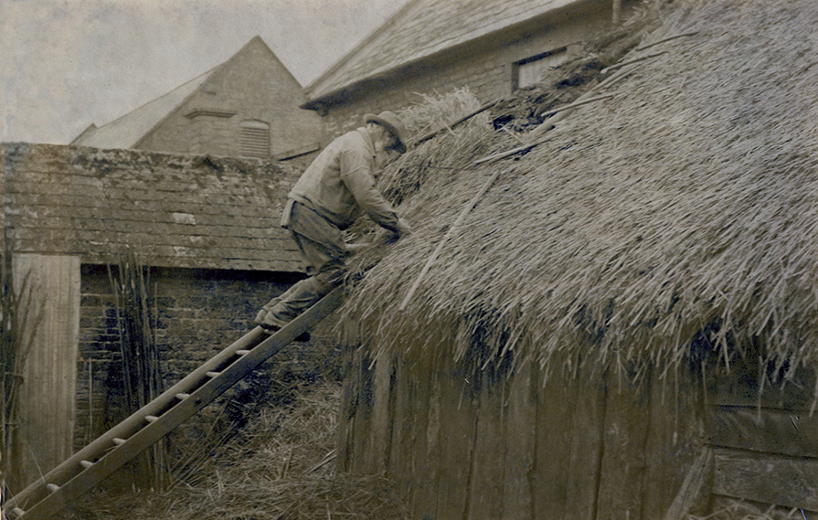 tying on thatch