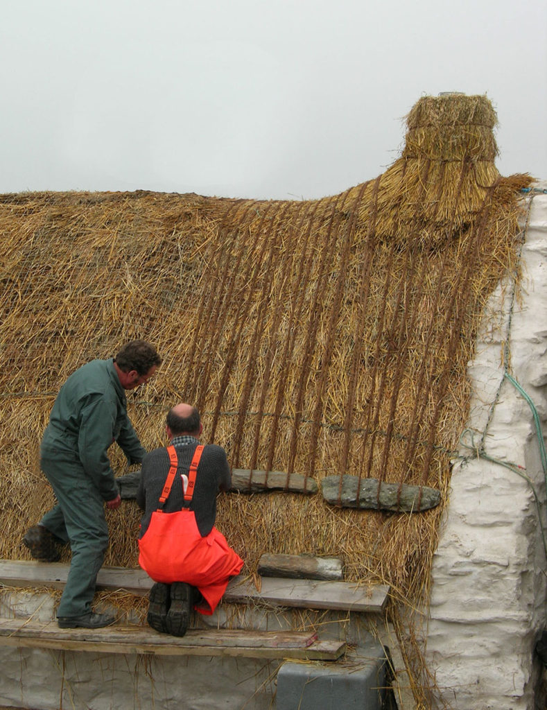 roping thatch easthouse croft shetland