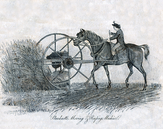 'Plunknett's Mowing and Reaping Machine'