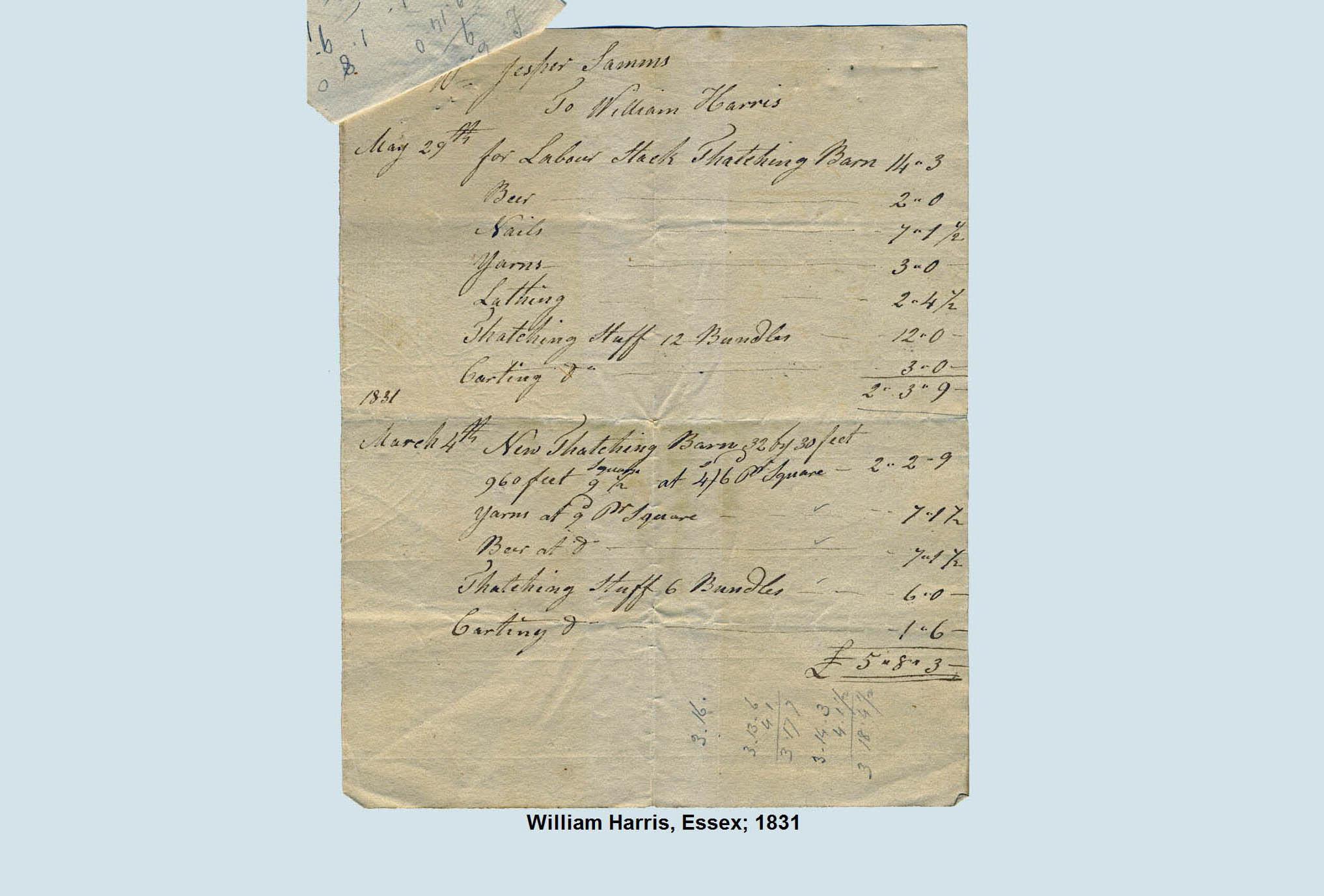thatch invoie 1831
