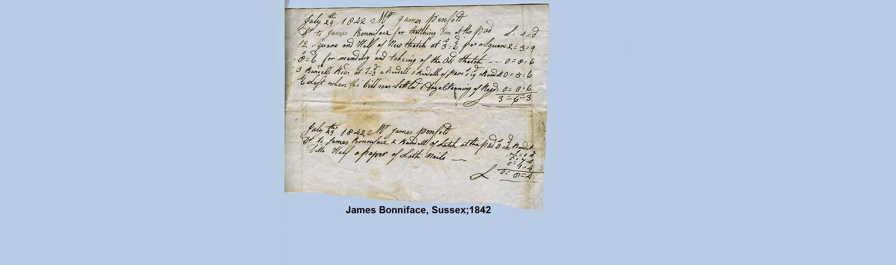 thatch invoice 1842